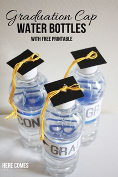 Graduation Party Decorating Ideas: Graduation cap water bottle DIY. Cute!