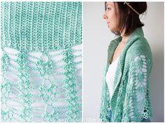 Pistachio Falls Cascading Crescent Crochet Shawl Pattern by expression fiber arts