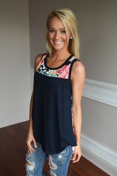 Don't Be Shy Floral Tank Top ~ Navy – The Pulse Boutique