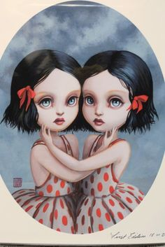 I love this type of surrealism. One of my favorite artists found here: http://www.etsy.com/listing/71336637/the-twins-limited-edition-signed-and?ref=v1_other_1