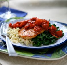 Balsamic Chicken w/Baby Spinich..4 boneless skinless chicken breast cutlets 1 – 15 oz can diced tomatoes 1/4 cup balsamic vinegar 1 – 2 teaspoons sugar (optional, only needed if tomatoes are too acidic) 4 cloves garlic, diced 2 – 8 oz bags baby spinach salt and pepper olive oil 4 cups cooked couscous