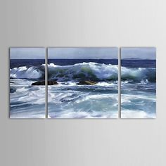 Hand Painted Oil Painting Landscape   Ocean Wall Seascape with Stretched Frame Set of 3 – AUD $ 180.57