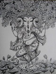 Kerala mural pencil sketch(by:Preetha Ramesh ) Doodle Art Drawing, Mandala Drawing, Mandala Painting, Pichwai Paintings, Indian Art Paintings, Ganesha Painting, Ganesha Art, Shiva Art, Hindu Art