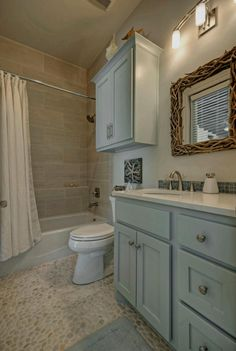 House of Turquoise: Van Wicklen Design this cabinet color is beautiful Bathroom Renovation, House Bathroom, Bathrooms Remodel, Bathroom Makeover, House, Beach House Bathroom, Pebble Floor, Bathroom Renovations, Bathroom Design