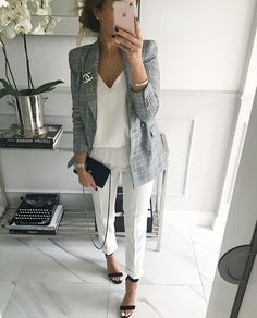Grey blazer, white tank, white skinny pants - great work outfit