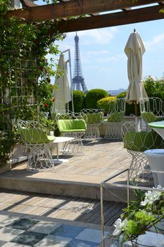 "The rooftop terrace at Hotel Raphael in Paris offers a brilliant view of the Eiffel Tower. A Parisian acquaintance of mine (from Vine!) reports that a drink at the hotel ""costs a kidney""!"