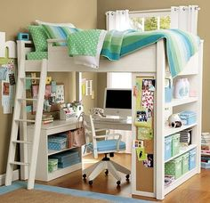 Love the loft bed/desk. Perfect for a small room. Bedroom Loft, Dream Bedroom, Bedroom Decor, Bedroom Ideas, Bed Ideas, Decor Ideas, Decorating Ideas, Loft Room, Bedroom Office