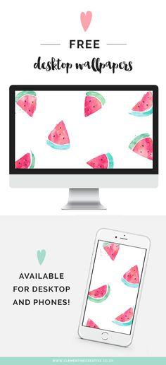 Free Desktop Wallpaper: Watermelons - Clementine Creative   DIY Printable Stationery