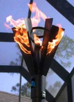 Outdoor Fire Designs Fin-Style Gas Tiki Torch - Specifications Torch Head Size: X Pole Height: Total Height with Outdoor Torches, Tiki Torches, Outdoor Fire, Patio Gas, Diy Patio, Backyard Patio, Backyard Ideas For Small Yards, Small Patio, Garden Torch