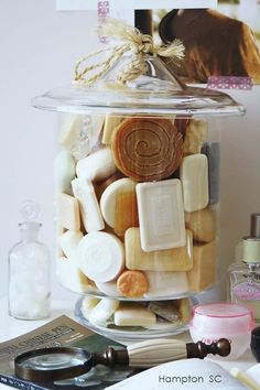 We have a jar of soaps in our bathroom.