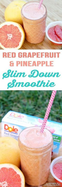 Healthy smoothie recipes and easy ideas perfect for breakfast, energy. Low calorie and high protein recipes for weightloss and to lose weight. Simple homemade recipe ideas that kids love. Red Grapefruit and Pineapple Slim Down Smoothie diyjoy.com/...