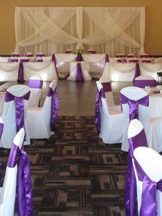 Chair Covers, Purple Sashes Backdrop and Head Table Draping - www.setthemooddecor.ca / setthemooddecor.com