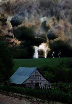 Lightning Bolts Over The Barn