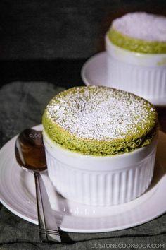 Green Tea Souffle |   For coating ramekins ½ Tbsp. (7 g) unsalted butter, at room temperature 4 tsp. granulated sugar For the custard 150 ml milk 100 ml heavy whipping cream 3 large yolks 22 g (2 Tbsp./ 0.8 oz) granulated sugar 25 g (2 Tbsp. + 2 tsp./0.9 oz) all-purpose flour 1-2 Tbsp. matcha green tea powder (1 Tbsp. matcha = 6 g, 0.2 oz) For the meringue 3 egg whites 44 g (4 Tbsp/1.6 oz) granulated sugar For dusting 1 Tbsp. powder (icing)