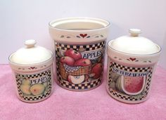 KITCHEN CANISTER SET consists of 3 Glazed Ivory by VintageofTN