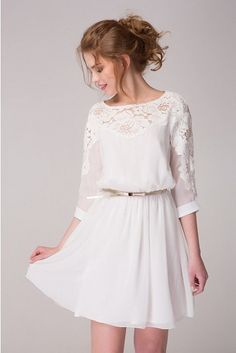 Cute White Chiffon Dress With Lace Flowers Short Dress Bridesmaid Dress White Cocktail Wedding Party