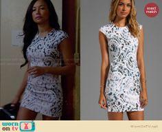 Santana's white printed mini dress on Glee. Outfit Details: http://wornontv.net/27616 #Glee #fashion