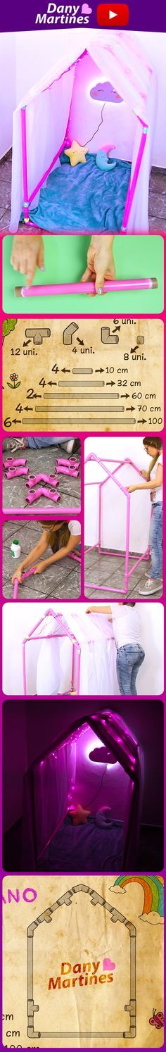 Faça você mesmo uma casinha com cano PVC, super barato, fácil e linda. Dia das Crianças, Casinha de criança, DIY, Do it yourself, barraquinha