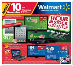 Walmart Black Friday Deals Kick Off Thanksgiving Night - if this is any indication of how low electronics are going to be this year on Black Friday - then look out!!!!