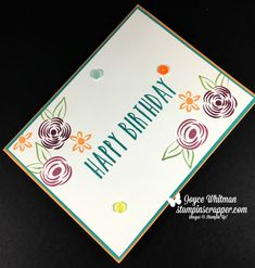 Perennial Birthday is one of my favorite stamp sets in the 2018 Occasions catalog from Stampin' Up! I used it to make this swap card for an event.