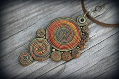 Bohemian polymer clay pendant by PeaceElements on Etsy