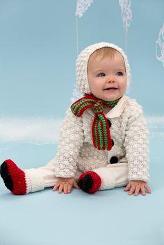 Su hombrecito de nieve estará listo para el invierno, en este abrazable conjunto tejido. Al gorro se le añadió una bufanda, el suéter en punto bodoque está cerrado con grandes botones color...