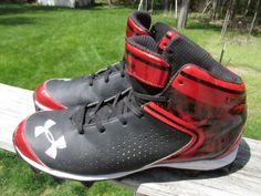 Under Armour Black & Metallic Red Men's Baseball Cleats Size 10.5 #UnderArmour