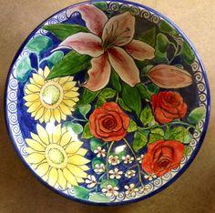 Damariscotta Pottery-Large bowl painted by Juliana. Facebook: Damariscotta Pottery