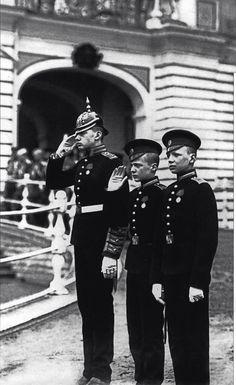 Children of Grand Duke Konstantin Konstantinovich on parade Lifeguards 4 Rifle Battalion. Tsarskoye Selo, 1909