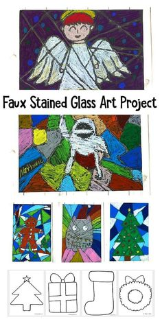Christmas faux stained glass art project for kids with free printable templates or coloring sheets Winter Crafts For Kids, Winter Kids, Diy For Kids, Kid Crafts, Preschooler Crafts, Winter Art, Christmas Artwork, Kids Christmas, Christmas Crafts