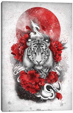 Canvas Prints by Marine Loup | iCanvas White Tiger Tattoo, Tiger Hand Tattoo, Japanese Tiger Tattoo, Tiger Tattoo Design, Back Tattoo Women Spine, Chest Tattoos For Women, Chest Piece Tattoos, Red Dragon Tattoo, Chinese Dragon Tattoos