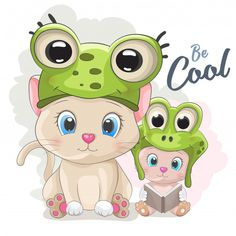 Cute Cartoon cat in a frog hat Premium Vector Frog Cartoon Images, Cute Cartoon Animals, Cartoon Pics, Cartoon Art, Sims 4 Anime, Anime Soul, Frog Pictures, Anime Character Drawing, Funny Frogs