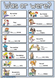 Was or were? Language: Grade/level: Beginner, elementary School subject: English as a Second Language (ESL) Main content: Was or were Other contents: Verb to be, simple past English Grammar For Kids, Learning English For Kids, English Phonics, Teaching English Grammar, English Lessons For Kids, English Worksheets For Kids, English Verbs, Kids English, Learn English Words