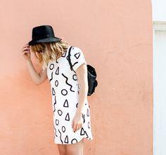 Shapes Shift Dress  Stone or White Fabric  Zana by ZanaProducts