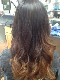 Milk chocolate to Carmel to honey blonde Ombre... I'm doing this except my hair is medium brown. In so excited!