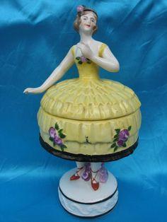 275. German 19cm figural Half doll & ashtrays