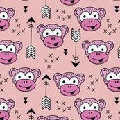 Little monkey friends inky arrows geometric animals design pink girls by littlesmilemakers, click to purchase fabric  - surface design by Little Smilemakers on Spoonflower - wallpaper inspiration for kids clothes fun fashion and trendy home decorations.