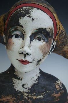Sally MacDonell_contemporary ceramic figures_ Faces_ Bath