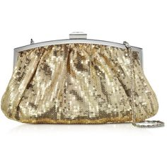 Julia Cocco' Handbags Micro Sequins Clutch w/Chain Strap (520 HRK) ❤ liked on Polyvore featuring bags, handbags, clutches, gold, chain strap handbag, sparkle handbags, party clutches, brown purse and sequin purse