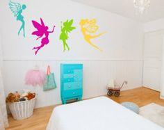 Fairy Wall Decal  - Set of 4 Fairies - Baby Nursery Decal, Girls Room Decal