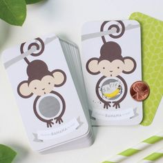 These monkey scratch cards are the perfect game for a safari themed baby shower