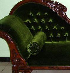 Green Velvet Chaise Lounge...gorgeous!