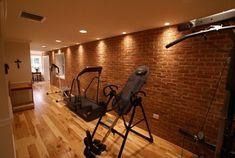 Home gym idea. the brick! Dare I? Home Made Gym, At Home Gym, Basement Gym, Basement Ideas, Brick Feature Wall, Brick Wall, Gym Interior, Interior Ideas, Gym Lighting