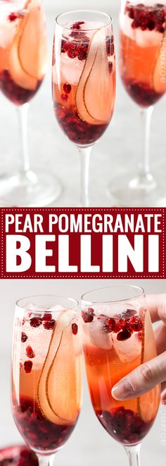 Pear Pomegranate Bellini - a delightful combination of Prosecco and pear brandy create this light, bubbly, and elegant Bellini! As pretty as it is delicious, it's just the drink you need for your next party or date night! : The 5 o'clock Chef Beste Cocktails, Wine Cocktails, Summer Cocktails, Cocktail Drinks, Fun Drinks, Yummy Drinks, Cocktail Recipes, Beverages, Cocktail Ideas