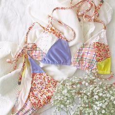 Indaia Swim Praia Tri Bikini Top combines the key prints and fabrics, perfect to mix and match. Romantic Mood, Floral Artwork, Patchwork Designs, Bikini Tops, String Bikinis, Swim, Flat, Fabric, Fashion