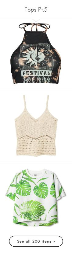 """Tops Pt.5"" by brook-s18 ❤ liked on Polyvore featuring tops, crop tops, shirts, bralet crop top, off-shoulder crop tops, halter-neck crop tops, off the shoulder tops, jersey crop top, v-neck tops and macrame shirt"