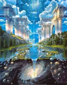The Magnificent New Jerusalem Atlantis, Diego Rivera, Celestial, Trippy Pictures, Fantasy Posters, New Jerusalem, Saints, 16x20 Frame, Bride Of Christ