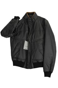 Stay warm outside with this black cotton blend bomber jacket made by Hogan and heavily discounted from the retail price. We take all our own photos to present you with realistic and vivid detail. All items are hand-measured with body measurements to ensure a perfect fit. Chest: 17 | Overarm: 18. Zips and buttons down the front. Four pockets, two zip, two snap. Collar has inner lining. Cuffs and bottom are ribbed. One inside left pocket that zips. .