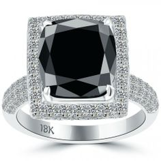 7.06 Carat Certified Cushion Cut Black Diamond Ring 18k Pave Halo Vintage Style - Black Diamond Engagement Rings - Engagement