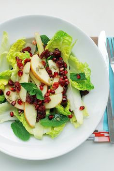 apple, pomegranate, lettuce, mint, sunflower seeds, chicory heads, with lemon, salt, and olive oil